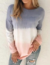 Fashion Blue Printed Tie-dye Gradient Long-sleeved Round Neck T-shirt Sweatshirt
