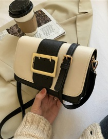 Fashion Creamy-white Square Buckle Contrast Color Shoulder Crossbody Bag