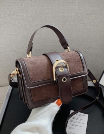 Fashion Coffee Color Frosted Shoulder Messenger Portable Small Square Bag