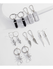 Fashion White K Serpentine Earring Multi-element Earrings Set