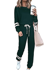 Fashion Dark Green Large Size Solid Color Long Sleeve Suit