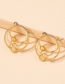 Fashion Golden Metal Circle With Ball Ear Studs