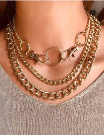 Fashion Golden Alloy Keychain Ring Hollow Chain Multilayer Necklace