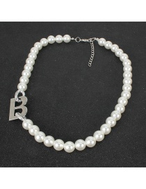 Fashion Silver Pearl Alloy Letter Bead Necklace