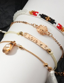 Fashion Suit Metal Hand Woven Rice Beads Shell Letter Bracelet