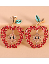 Fashion Red Fruit Apple Diamond Earrings