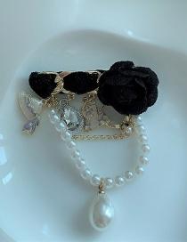 Fashion Black Camellia Pearl Tassel Brooch
