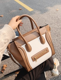 Fashion Khaki With White Contrasting Color Wings Face Shoulder Handbag