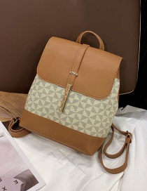Fashion Brown Geometric Print Backpack
