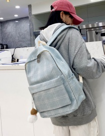 Fashion Grey Blue Check Cotton And Linen Backpack
