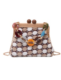 Fashion Brown Lamb Plush Crossbody Bag With Wood Clip And Chain