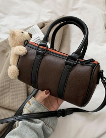 Fashion Brown Cylindrical Bear Pillow Shoulder Messenger Handbag