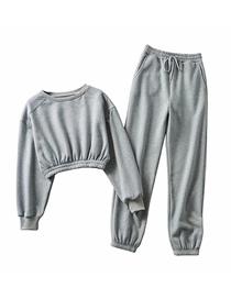 Fashion Gray Short Fleece Sweater + Straight Pants Suit