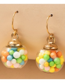 Fashion Gold Color Candy Glass Ball Bottle Alloy Earrings