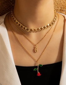Fashion Gold Color Letter Rose Flower Dripping Alloy Multilayer Necklace