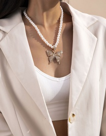 Fashion Gold Color Color Fringed Large Square Diamond Butterfly Pearl Necklace