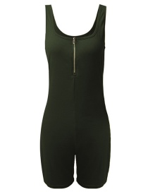 Fashion Army Green Solid Color Square Neck Suspender Halter Skinny Jumpsuit