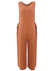Fashion Brick Yellow Solid Color Loose Drawstring Round Neck Sleeveless Wide-leg Jumpsuit