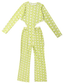Fashion Fluorescent Green Two-piece Color-blocking Net Gauze Letter Printed Jumpsuit With Hip Flared Pants