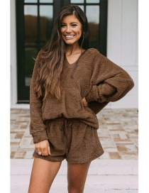 Fashion Coffee Loose Plush V-neck Shorts Hooded Suit