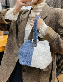 Fashion Blue With White Lamb Wool Stitching Contrast Single Shoulder Messenger Bag