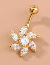 Fashion Gold Color Micro-inlaid Zircon Flower Belly Button Nails