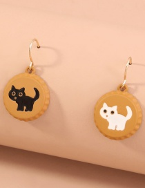Fashion Ginger Cat Bottle Cap Asymmetrical Alloy Earrings