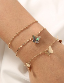 Fashion Gold Color Geometric Three-dimensional Tassel Butterfly Multi-layer Bracelet