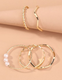 Fashion Gold Color Alloy Adjustable Heart-shaped Wave Ring Set