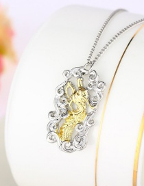 Fashion Color Mixing Hollow Two-tone Golden Dragon Tag Necklace