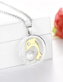 Fashion Mixed Color Delivery Two-tone Dolphin Necklace With Zircon Plating