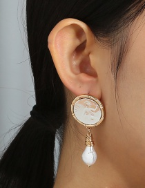 Fashion Gold Color Geometric Handmade Pearl Earrings