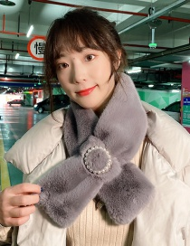 Fashion Plush Gray Thickened Warm Cross Pearl Collar Wool Scarf