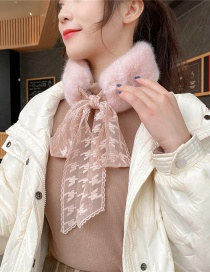 Fashion Powder Houndstooth Thick Warm Plush Knotted Fake Collar Scarf