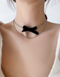 Fashion Black Velvet Bow And Diamond Alloy Multilayer Necklace
