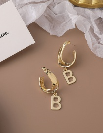 Fashion Gold Color Letter Alloy Hollow Geometric Earrings