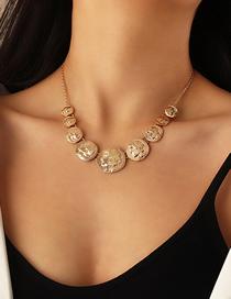 Fashion Gold Color Portrait Alloy Coin Size Single Layer Necklace