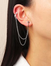 Fashion Silver Color C-shaped Pearl Chain Earrings Ear Clips