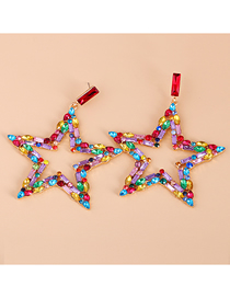Fashion Color Five-pointed Star Diamond-studded Alloy Hollow Earrings