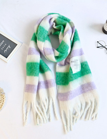 Fashion Green Mig Striped Thick Knitted Fringed Shawl Scarf