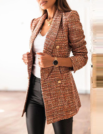 Fashion Brown Long Sleeve Double-breasted Blazer With Print Coat