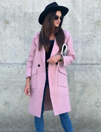 Fashion Pink Long Sleeve Lapel Solid Color Mid-length Woolen Coat