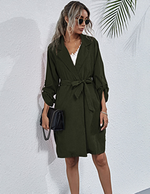 Fashion Armygreen Suit Collar Sleeves Solid Color Waist Belted Trench Coat