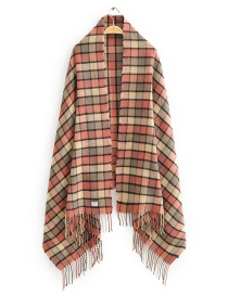 Fashion Pink Small Check Cashmere Fringed Scarf Shawl