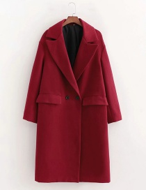Fashion Red Wine Double-breasted Lapel Woolen Coat
