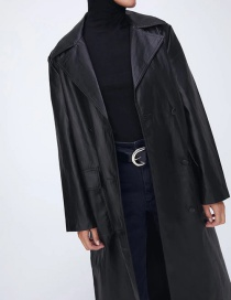 Fashion Black Faux Leather Long Belted Lapel Coat