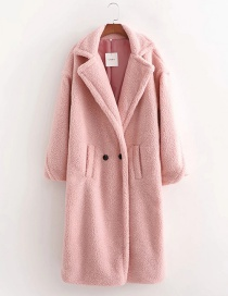 Fashion Pink Teddy Wool Double Button Loose Lapel Coat