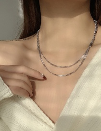 Fashion Silver Color Steel And Titanium Chain Stitching Multilayer Necklace