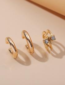Fashion Three-piece Suit Diamond-studded Geometric Alloy C-shaped Ear Clip