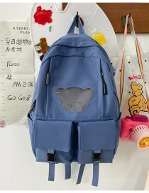 Fashion Blue Without Pendant Spliced ??mesh Buckle Multi-pocket Backpack